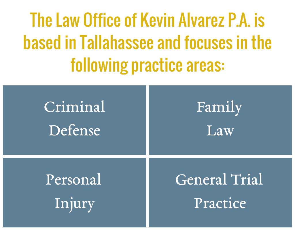 The Law Office of Kevin Alvarez P.A. is based in Tallahassee and focuses in the following practice areas: Criminal Defense Family Law Personal Injury General Trial Practice